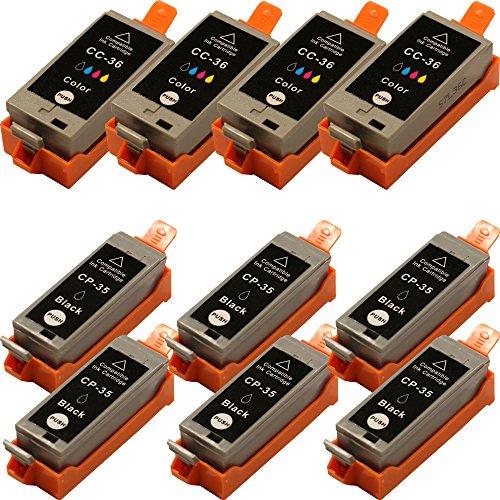 10 Druckerpatronen kompatibel für Canon Pixma iP100 (Patronen 6 x Schwarz - 4 x Color mit Chip)