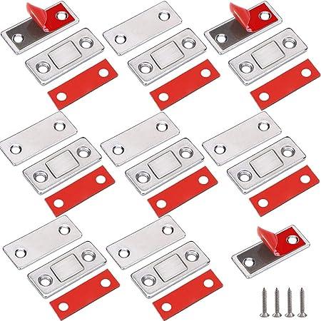 Loquet Magnetique Jiayi 8 Pièces Ultra Mince Aimant de Porte Placard Adhesif Loqueteau Aimant Fermeture Meuble Aimant Puissant pour Porte de Coulissante Tiroirs Fenêtre Armoire