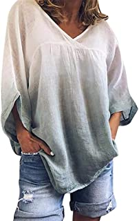 LONGDAY Round Neck Sweatshirt Tie Dye Print PulloverWomen's 3/4 Sleeve Cotton Linen Jacquard Blouses Top T Shirt