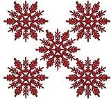Naler 24 Adorno Copo de Nieve Rojo de Plástico Adornos Navideños con Purpurina para Decoración Colgante de Árbol de Navidad (10cm)