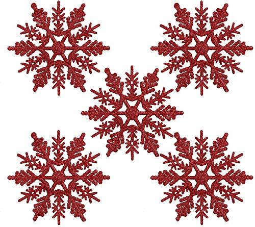Naler 24 Adorno Copo de Nieve Rojo de Plástico Adornos Navideños con...