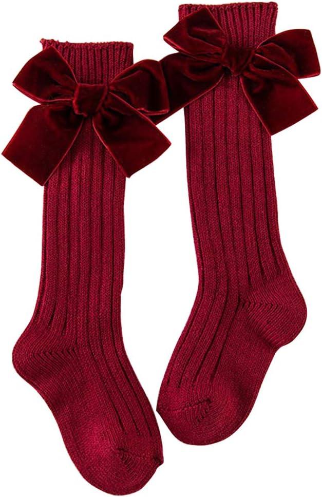 Xpccj 1Pair Girls Knee High Socks Cotton Rich Long Length Uniform Socks with Bow Kids Back to School Uniform Socks