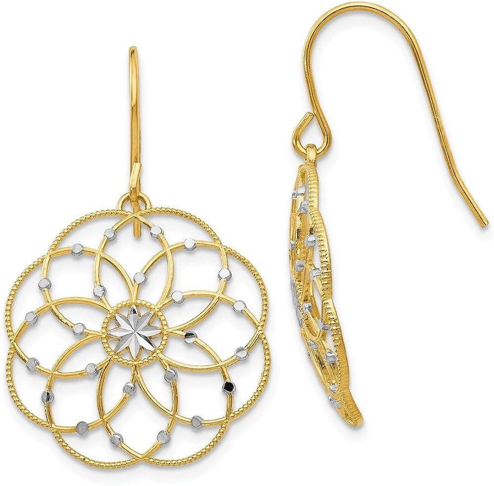 14k Yellow Gold Shepherd Hook Drop Dangle Chandelier Earrings Fine Jewelry For Women Gifts For Her