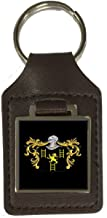 Jeffries Family Crest Surname Coat Of Arms Brown Leather Keyring Engraved