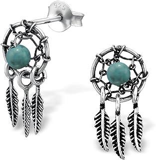 925 Sterling Silver Hypoallergenic Dream Catcher Stud Earrings for Girls 31076