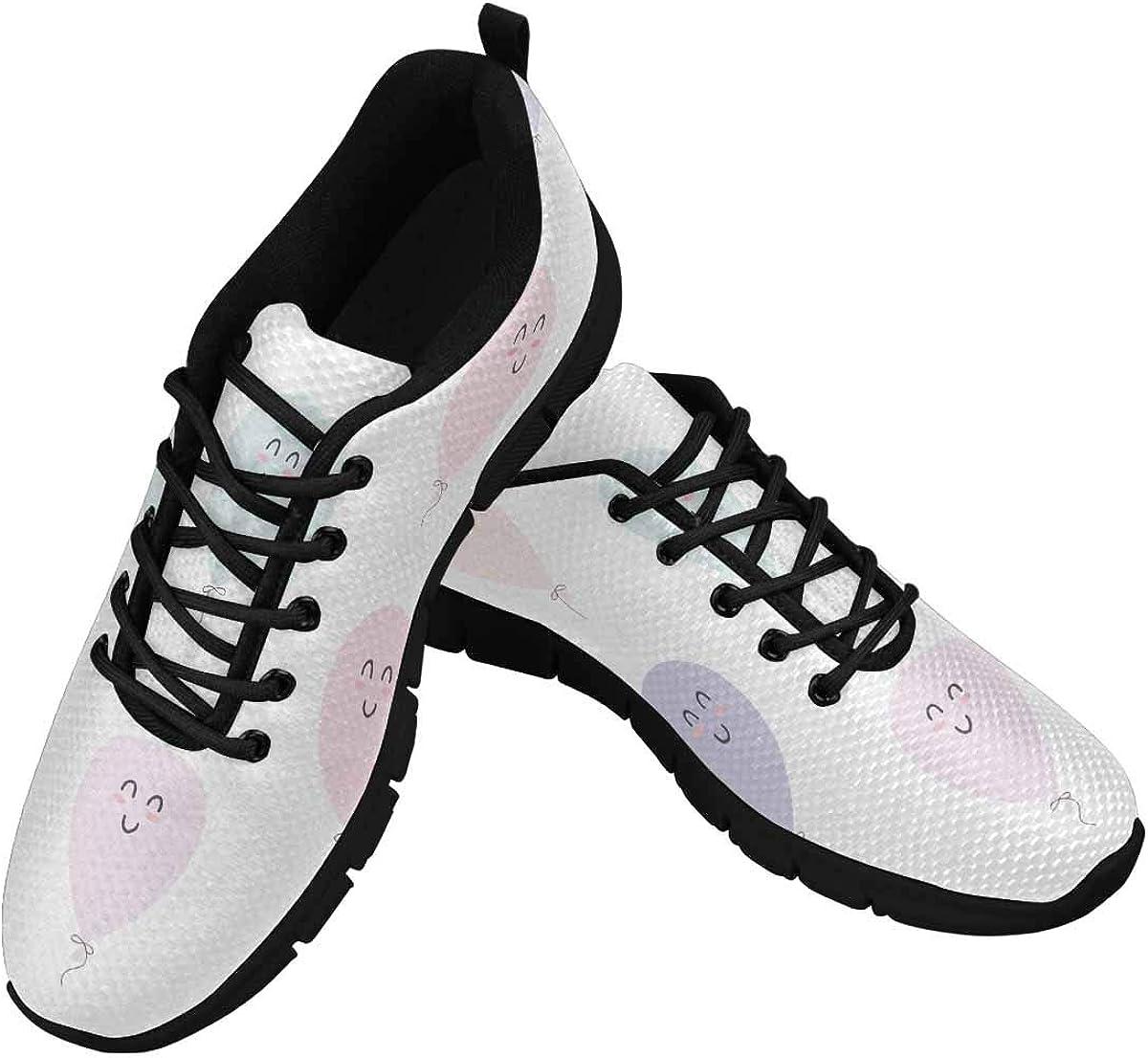 INTERESTPRINT Balloons Pattern Women Walking Shoes Comfortable Lightweight Work Casual Travel Sneakers