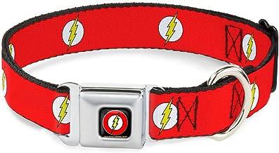 Buckle-Down Seatbelt Buckle Dog Collar - Flash Logo Red/White/Yellow