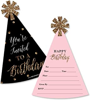 Chic Happy Birthday - Pink, Black and Gold - Shaped Fill-in Invitations - Birthday Party Invitation Cards with Envelopes - Set of 12