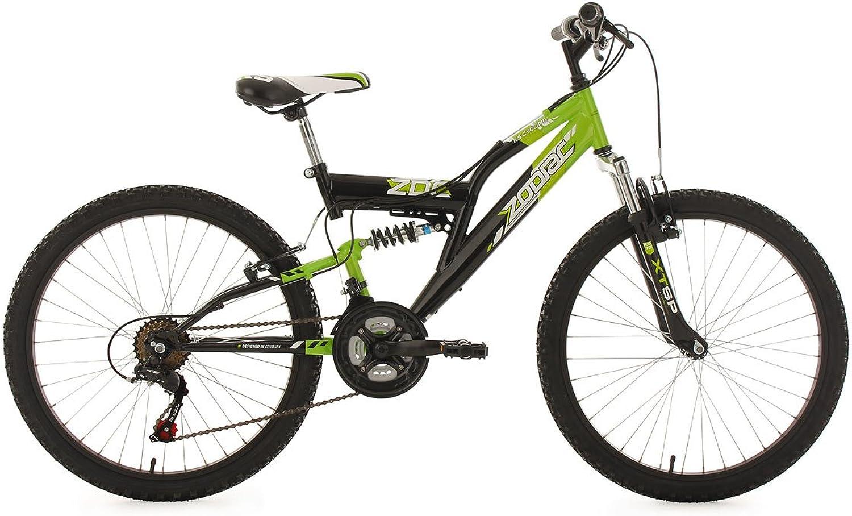 KS Cycling Kinder Kinderfahrrad Mountainbike Fully 24'' Zodiac grün-schwarz RH 38 cm Fahrrad, 24