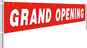 Large Grand Opening Banner, Retail Store Shop Business Sign, Business Office Store Front Banner, Store, Advertising, Flag (9.8x1.5 feet)