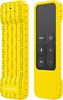 MoKo Silicone Case Compatible with Apple TV 4K/4th Gen Remote, Lightweight Shockproof Protective Cover with Non-Slip Silicone Fit Apple TV 4K Siri Remote Controller - Yellow