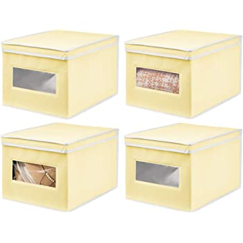 mDesign Juego de 4 Cajas de Tela – Práctico Organizador de armarios con Tapa para Dormitorio, salón o baño – Caja de almacenaje apilable de Fibra sintética Transpirable – Amarillo Claro/Blanco: Amazon.es: Hogar