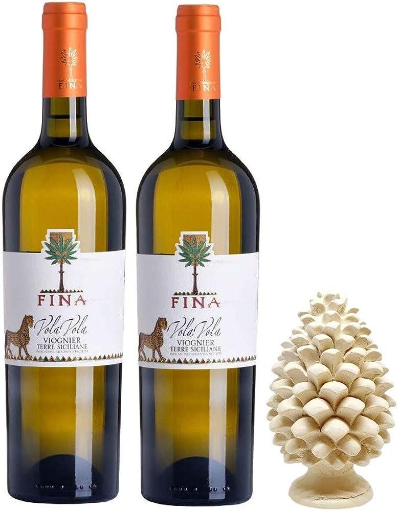 Sicilia bedda - cantine fina - 2 bottiglie di vino bianco vola vola, piu` pigna siciliana in ceramica 12 cm