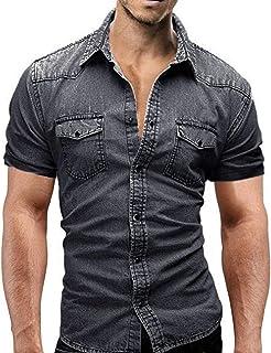 HX fashion Camisa De Manga De Corta Jeans Camisas Para Hombre Tamaños Cómodos Camisa Casual De Botones De Corte Slim Con B...