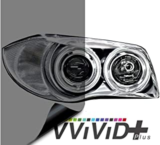 VViViD Air-Tint Smoke Black Gloss Vinyl Headlight Foglight Transparent Tint Wrap Self-Adhesive (12 Inch x 48 Inch, 2-roll Pack)