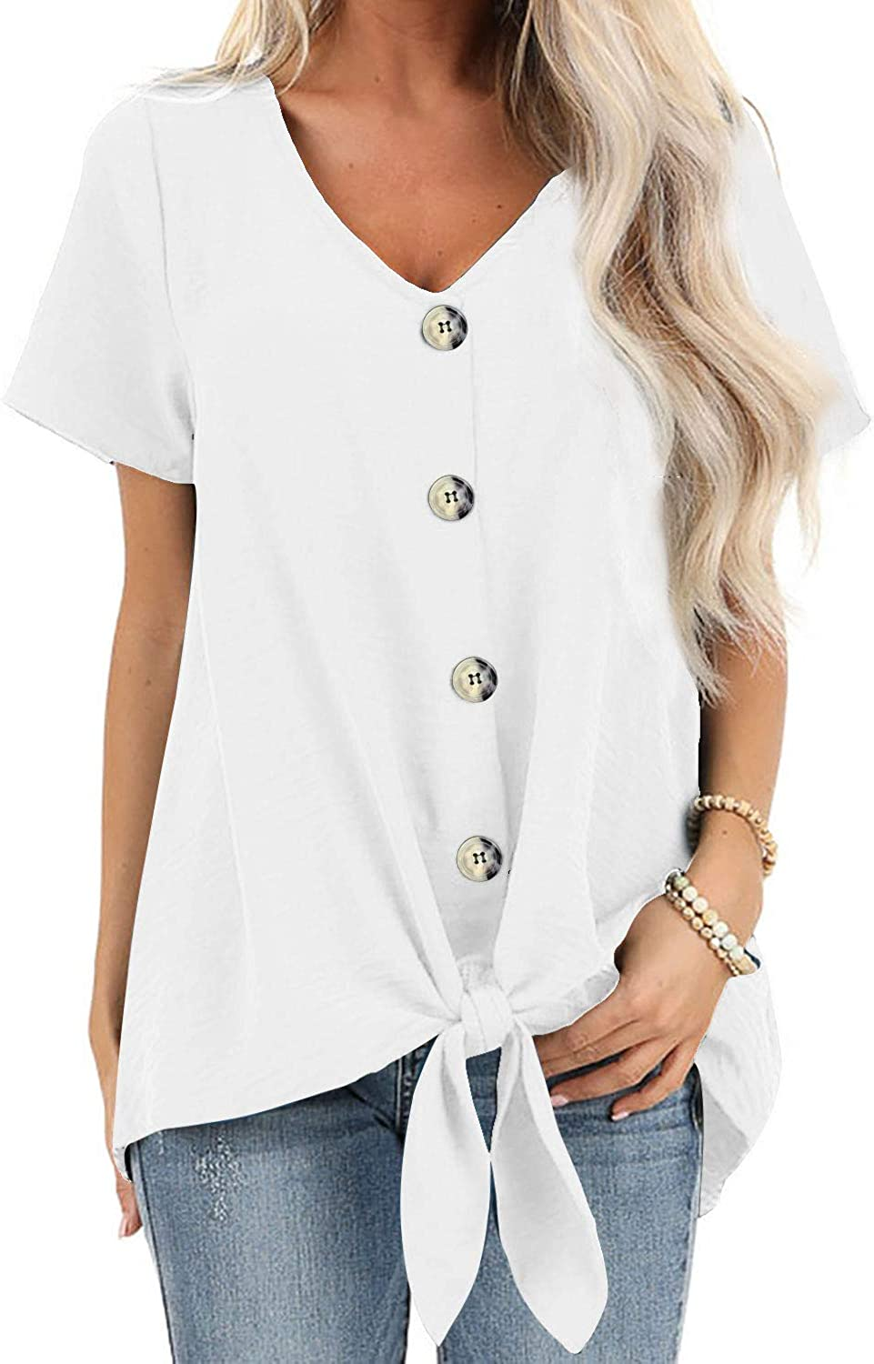 DidHaapin Womens Button Down V Neck Shirts Loose Casual Short Sleeves Blouse