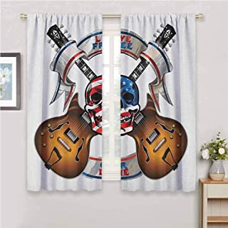 Guitar Room Darkened Heat Insulation Curtain Crossed Electric Guitars with Skull American Flag Live Free Or Die Biker Culture Living Room W42 x L63 Inch Multicolor