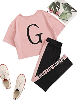 SheIn Women's Short Sleeve Crop Tee with Stripe Letter Side Pants Pajama Set