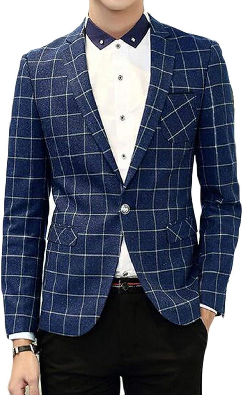Fubotevic Men's Plaid Print Casual Business Slim Formal Dress Blazer Jacket Sport Coat