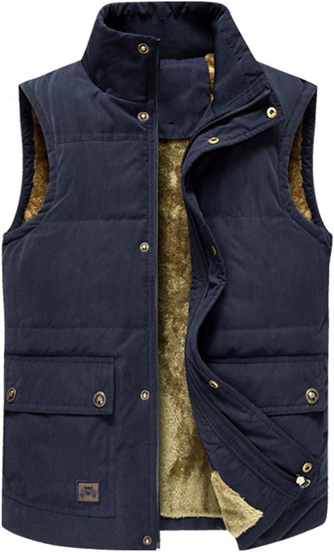 YANXH Autumn and Winter The New Men Gilet Leisure Plus Cashmere Keep Warm Vest