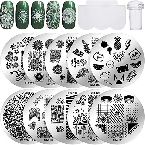 12 Pieces Nail Stamping Plates Kit, 10 Pieces Flower Nail Art Stamp Stamping Templates Image Plate with Clear Nail Art Stamper and Nail Scraper for DIY Nail Art