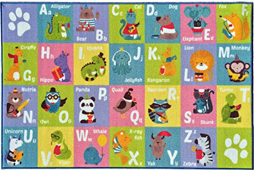"""KC CUBS Kev & Cooper Playtime Collection ABC Alphabet Animal Educational Area Rug - 3'3"""" x 4'7"""""""