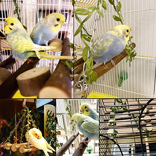kathson Wood Bird Swing Toys Natural Parrot Perch Wooden Stand Platform Parakeet Paw Grinding Stick Cage Accessories Exercise Toy for Cockatiels Budgies Lovebirds Conures