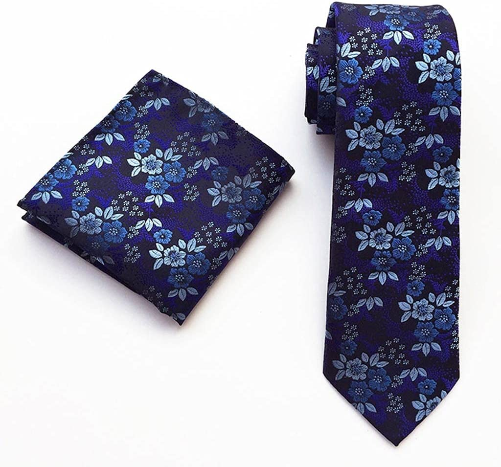 NSXKB Fashion Business 100% Silk Men's Tie Ties for Men Formal Wedding Quality Two-Piece Tie and Square Scarf (Color : A)