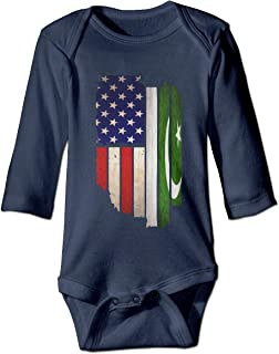 Just Born Baby Boys Girls Romper Bodysuit Jumpsuit Vintage USA Pakistan Flag Long Sleeve Funny Baby Clothes