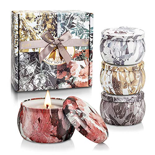Yinuo Mirror Scented Candles Gift Set, Soy Wax 4.4 oz Portable Travel Tin Candles Women Gift for Aromatherapy 4 Pack