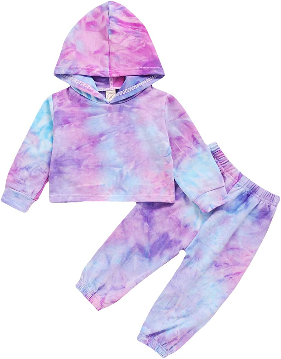 Toddler Baby Girl Clothes Tie Dye Long Sleeve Tops Hoodie Sweatshirt Pants 2PCS Outfit Set Fall/Winter Clothing