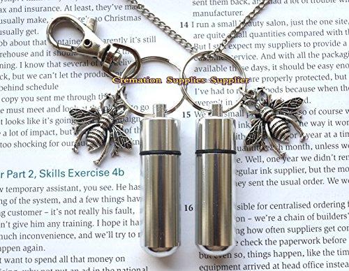 Bienen-Urnen-Halskette und Schlüsselanhänger, Schmuck, Bienen-Einäscherungs-Halskette, Schmuck, Asche, Halskette, Schmuck, Gedenkschmuck, Bienen-Einäscherungsmedaillon
