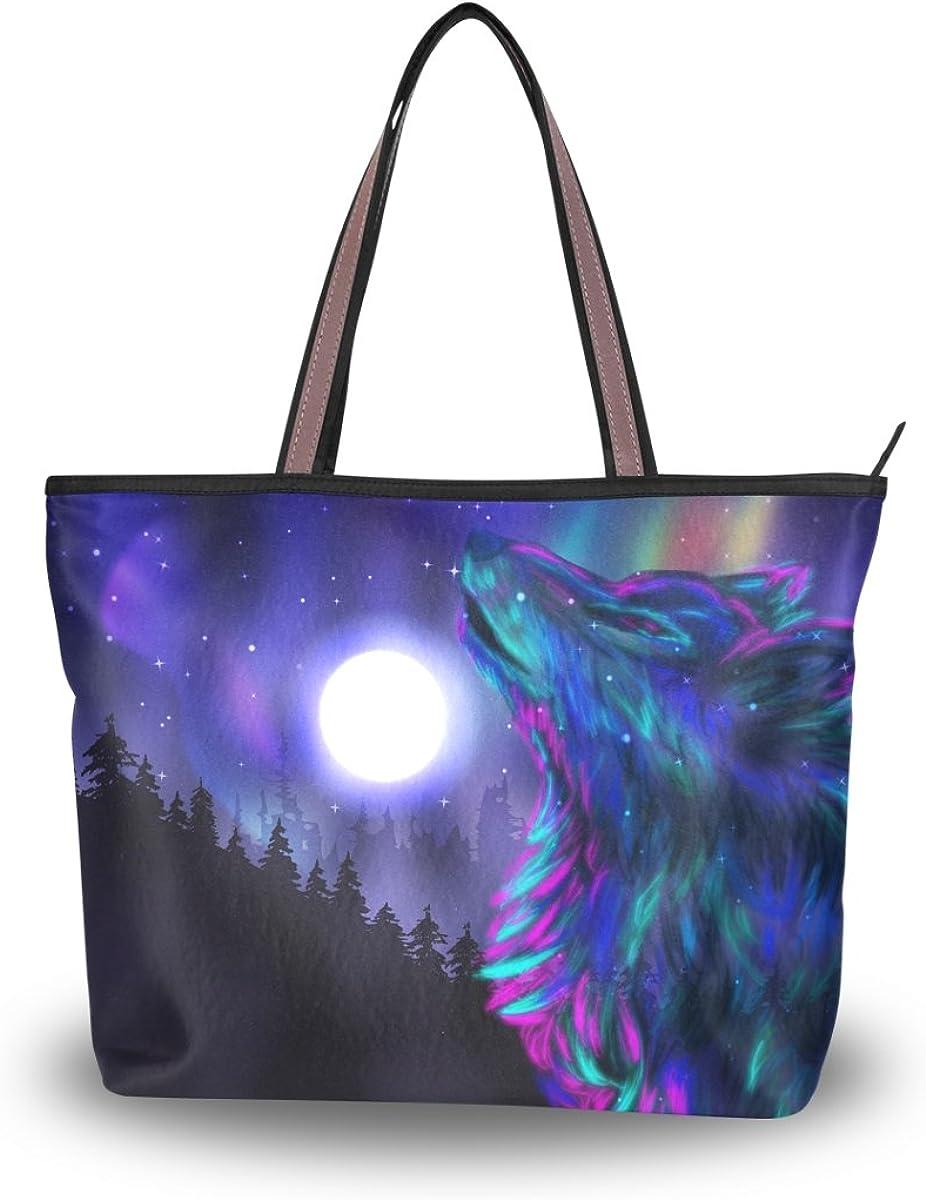 JSTEL Women Large Tote Top Handle Shoulder Bags Tree Wolf Moon Night Patern Ladies Handbag L