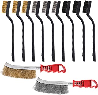 11 Pcs Brush (Stainless Steel & Brass & Nylon), AFUNTA 7 Inch & Knife Shape brush, Two Different Size Curved Handle Masonr...