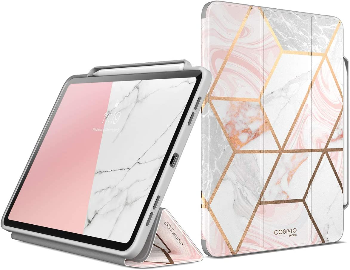 i-Blason Cosmo Case for New iPad Pro 11.0 Inch (2021/2020/2018 Release), Full-Body Trifold Stand Protective Case Smart Cover with Auto Sleep/Wake & Pencil Holder (Marble)