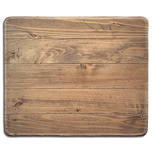 dealzEpic - Art Mousepad - Natural Rubber Mouse Pad Printed with Vintage Reclaimed Wood Pattern Rustic Looking Texture - Stitched Edges - 9.5x7.9 inches
