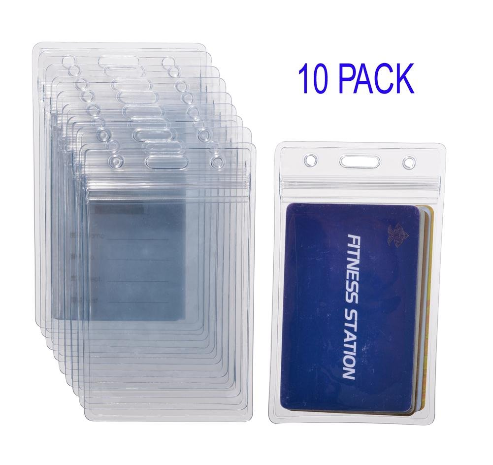 10x EVENT Clear Vertical ID Badge Card Plastic Pocket Holder Pouchs 12.5 x 8cm