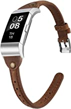 Wearlizer Slim Guneine Leather Watch Band Compatible with Fitbit Charge 2, Charge 2 hr Accessories Replacement Wristband Strap Bracelet for Men Women Small Large T Type Deep Scrub Brown