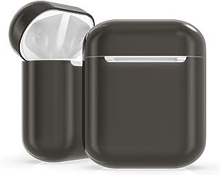 kwmobile hoes compatibel met Apple AirPods - Hardcover beschermhoes in grijs/transparant - Voor oordopjes
