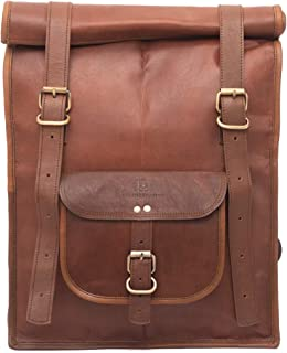 f1875d9e5b Brown Leather Rucksack Vintage Backpack - Fits 15 Inch Laptops and iPads -  Handsome Patina Deepens