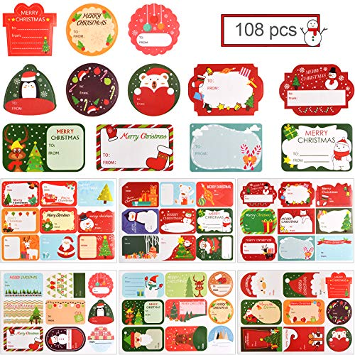 Kalolary 108 Pcs Self Adhesive Xmas Gift Tags Sticker, Merry Christmas Presents Labels Holiday Name Labels Decals for Festival Presents Envelope, Wrapping Paper and Gift Bags Decorative Tags