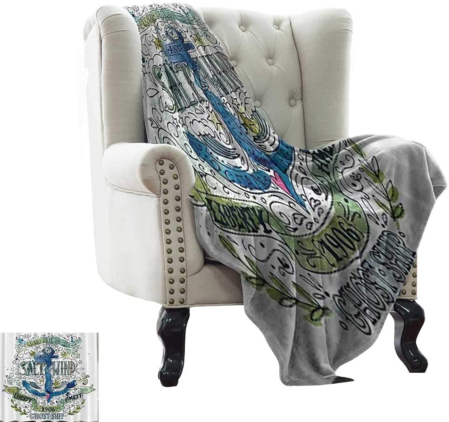 Nautical Seaside West Indies,Personalized Blankets Anchor Salt & Wind 1906 Liberty Amity Ghost Ship Old Sailor Stormy Ocean Legend Vintage 60 x50  Blanket Warm Kids Festival Gift Navy Green White