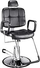 PanaCasa - Sillón Peluquería Barbería Maquillaje Tapizado PU Giratorio 360 grados Ajustable Color Negro