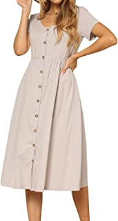 Women's Plain Short Sleeve Pockets Casual Swing Work Dress