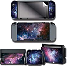 WENSEN Nintendo Switch Decal Stickers Skin & Screen Protector Set for Nintendo Switch Console & Joy-con Controller & Dock Protection Kit (Galaxy)