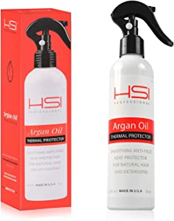 HSI PROFESSIONAL Argan Oil Heat Protector | Protect up to 450º F from Flat Irons & Hot Blow Dry | Sulfate Free, Prevents Damage & Breakage | Made in the USA | 8 Ounce, Packaging May Vary
