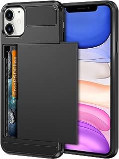 Vofolen Case for iPhone 11 Case Wallet Credit Card Holder ID Slot Sliding Door Hidden Pocket Anti-Scratch Dual Layer Hybrid Bumper Armor Protective Hard Shell Back Cover for iPhone 11 6.1in Black