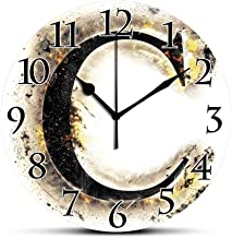 BCWAYGOD Silent Wall Clock,Letter C,Letter C Flaming Backdrop Combusted Alphabet Symbol Paper Effect Writing,Tan Black Yellow Non Ticking Wall Clock/Desk Clock for Office Home Decor 9.5 inch