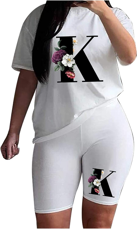 Women Summer Casual 2 Piece Outfit Short Sleeve Letter Print T-Shirts Sport Sweatshirt Shorts Set Club Jumpsuit Rompers