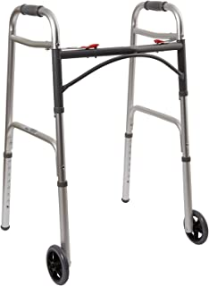 """McKesson Aluminum Silver Folding Walker Adjustable Height up to 350 lbs 32 to 39"""" H"""